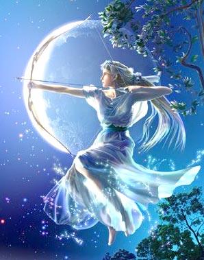 อาร์เตมิส (Artemis) หรือ ไดอานา (Diana) เทวีแห่งการล่าสัตว์ และ เทวีแห่งดวงจันทร์