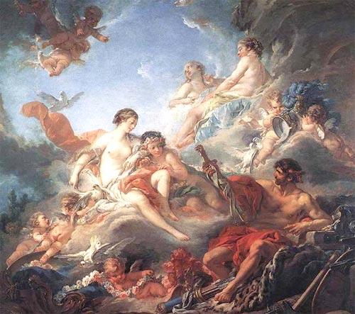 เฮฟเฟสตุส แสดงอาวุธของ เอเนียส (Aeneas) แก่ เทพีอโฟรไดท์