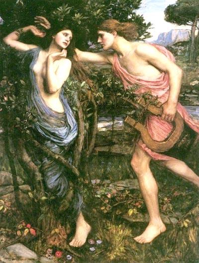 อพอลโล วิ่ง ไล่ตาม ดาฟเน่ ที่กำลังจะกลายเป็นต้นชัยพฤกษ์